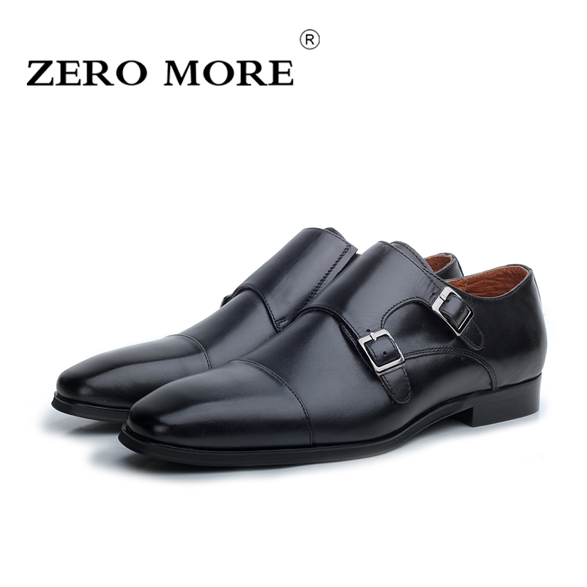 ZERO MORE 2017 New Brand Handwork Men Shoes Genuine Leather High Quality Buckle Casual Oxford Shoes For Men Color Brown/Black x9055 1 casual genuine leather flats shoes elevate high 6cm for fashion boys match jeans color brown black sz37 43
