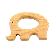 DIY hand made 10pcs 72*47mm Natural Eco Toy Organic smooth Wooden Large Elephant shape Beads Teething Ring For Baby DIY Crafts