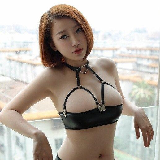 Сексуальная Женская искусственная кожа микро мини юбка бюстгальтер мокрого вида Клубная DS танцевальная одежда юбка фантазия эротическая одежда - Цвет: neck ring wrap chest