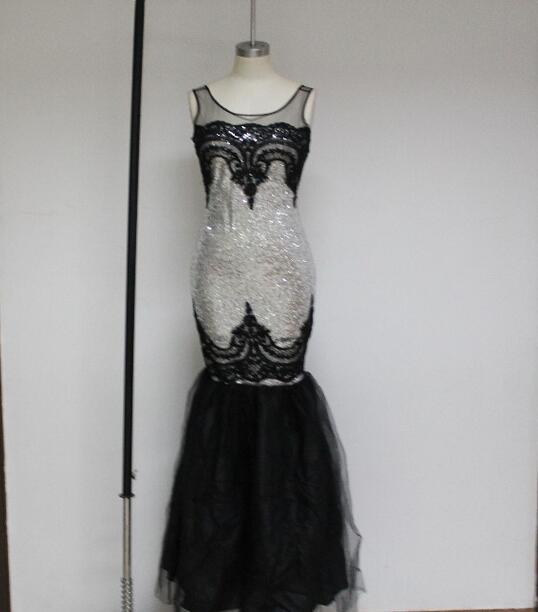 Vert/argent/or/noir/violet Sequin appliqué longue robe pure Top femmes formelle sirène fête formelle robe robes Longo 60633 - 3