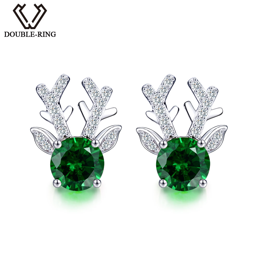 DOUBLE-R Created Emerald Earrings Pure 925 Sterling Silver Stud Earrings For Women Fine Jewelry For Women