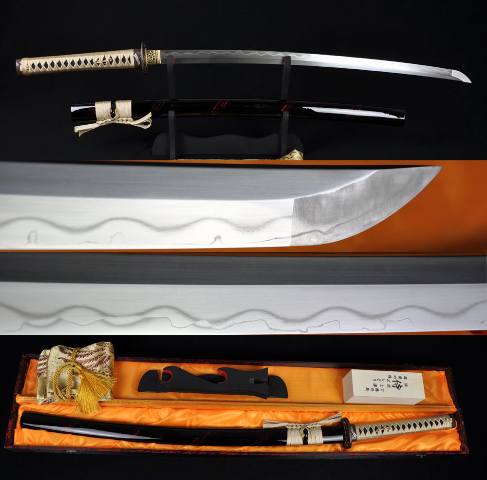 JAPANESE SAMURAI font b SWORD b font DRAGONFLY KATANA FULL TANG CLAY TEMPERED DAMASCUS FOLDED 1095