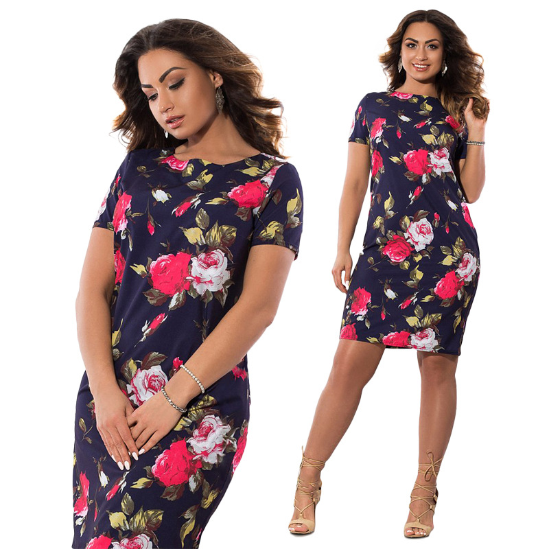HTB1.8 UXe2CK1JjSZFsq6x6AVXac 2019 Autumn Plus Size Dress Europe Female Fashion Printing Large Sizes Pencil Midi Dress Women's Big Size Clothing 6XL Vestidos