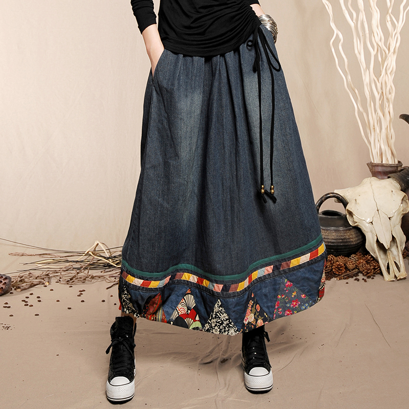 Free Shipping 2019 Fashion Chinese Style Long Maxi A line Elastic Waist Plus Size Floral Print Denim Jeans Women Patchwork Skirt in Skirts from Women 39 s Clothing