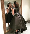 Little Black High Low Short Cocktail Dresses 2016 robe de cocktail Short Front Long Back Satin Prom Cocktail Party Dresses