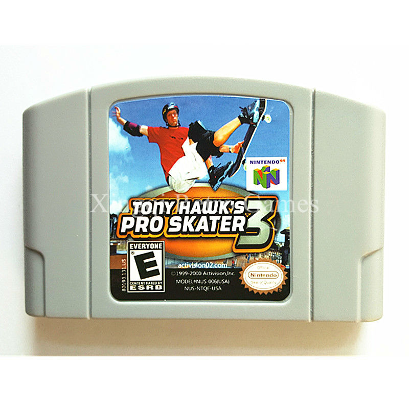 Nintendo N64 Game Tony Hawk`s Pro Skater 3 Video Game Cartridge Console Card English Language US Version