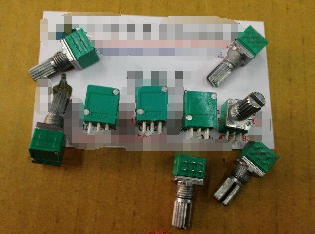 5 pz/lotto Speciale audio amplificatore ad alta precisione 10% doppio potenziometro RK097G A20K A50K lunghezza della maniglia 15MM fiore assi