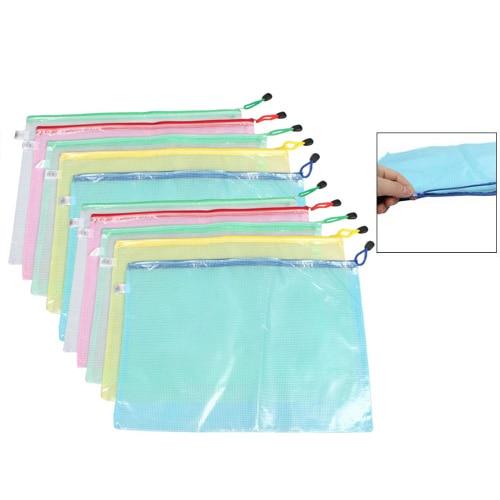 Affordable 10 Pcs Netting Surface A3 Document File Holder Zipper Bag Multicolor