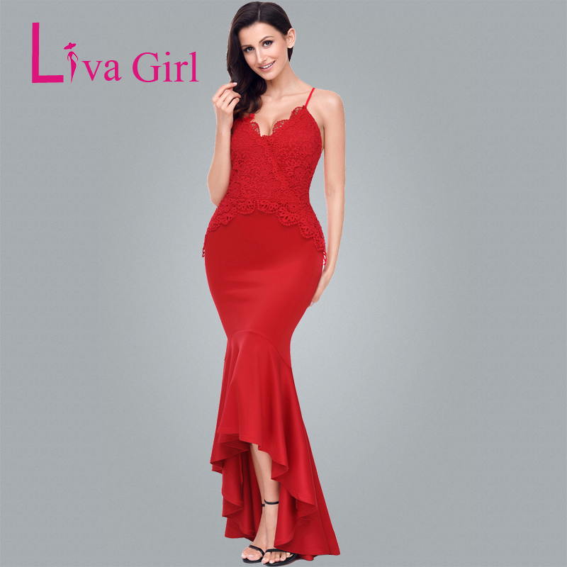 4480aa315bcb Liva Girl Red Spaghetti Straps Mermaid Dress Backless Sexy Long Party  Dresses Elegant Floor length Long Dress Robe De Soiree-in Dresses from  Women s ...