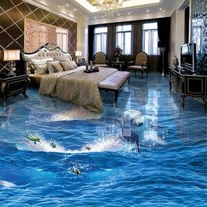 Image 3 - PVC 自己接着防水クリエイティブジャンプイルカフォト壁紙 3D 床壁画リビングルーム浴室摩耗ノンスリップステッカー
