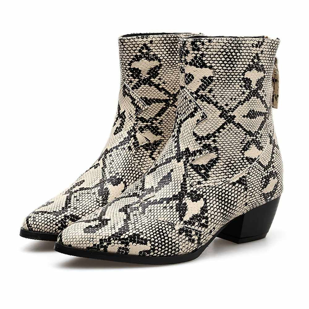 f90e34fcd8a Women Snakeskin Martin Boot Toe Zip Belt Buckle Thick Pointed Shoes Boots  Chirstmas Lady winter Snow Boot Fashion Botas Mujer