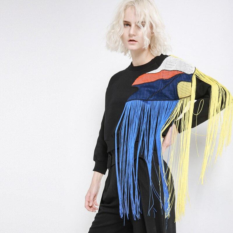 Maille fil plus épais pull dames vêtements femmes Streetwear hauts amples 2019 printemps arc-en-ciel couleur gland épissage femme QH461