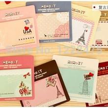1 unids/lote, nuevo Bloc de notas adhesivas vintage para viaje, mensaje postal, papel adhesivo extraíble
