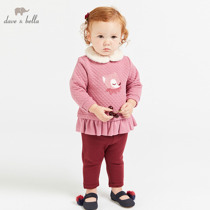 DBM8630 dave bella autumn baby girl fashion clothing sets girls lovely long sleeve suits children fox print clothes