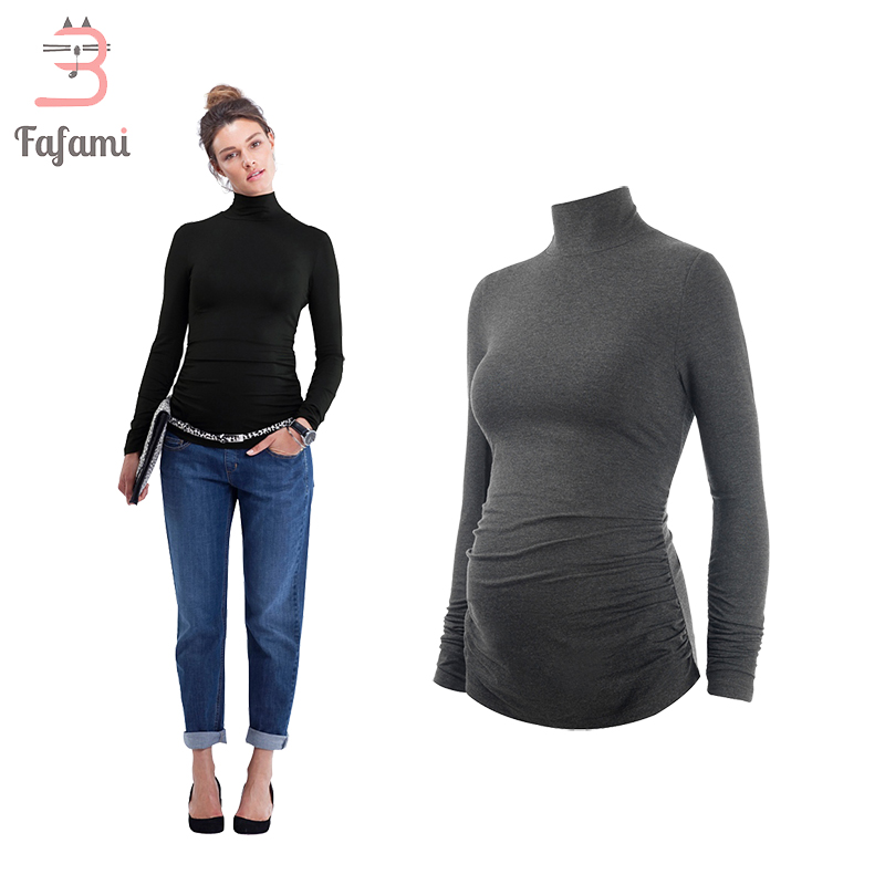 Maternity Clothes Turtleneck Plus size T shirt for pregnant women Tees pregnancy nursing clothes solid tshirt clothing winter brief plus size buttoned horizontal line pineapple embellished shirt for women