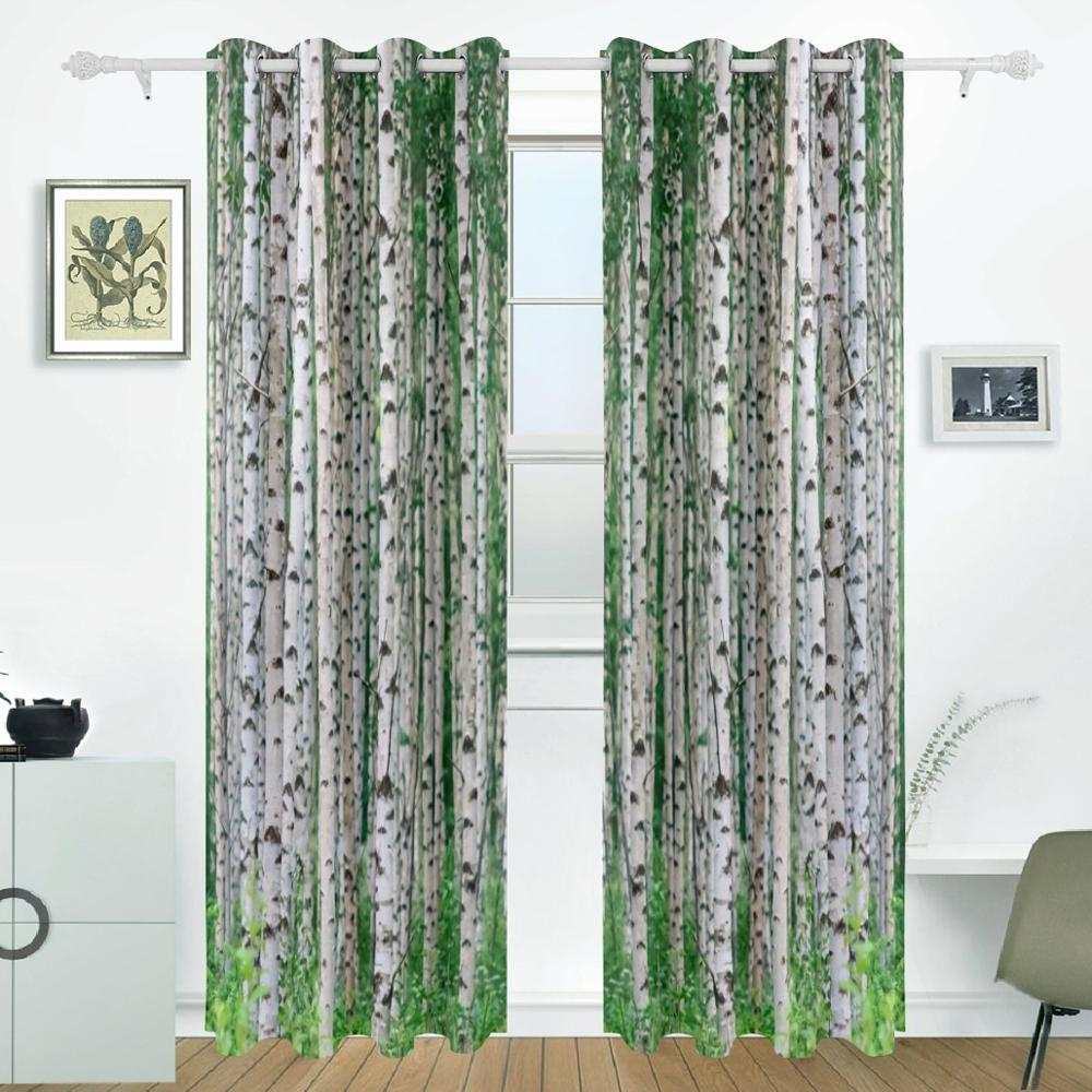 Birch Tree Curtains Drapes Panels Darkening Blackout Grommet Room Divider for Patio Window Sliding Glass Door 55x84 Inches