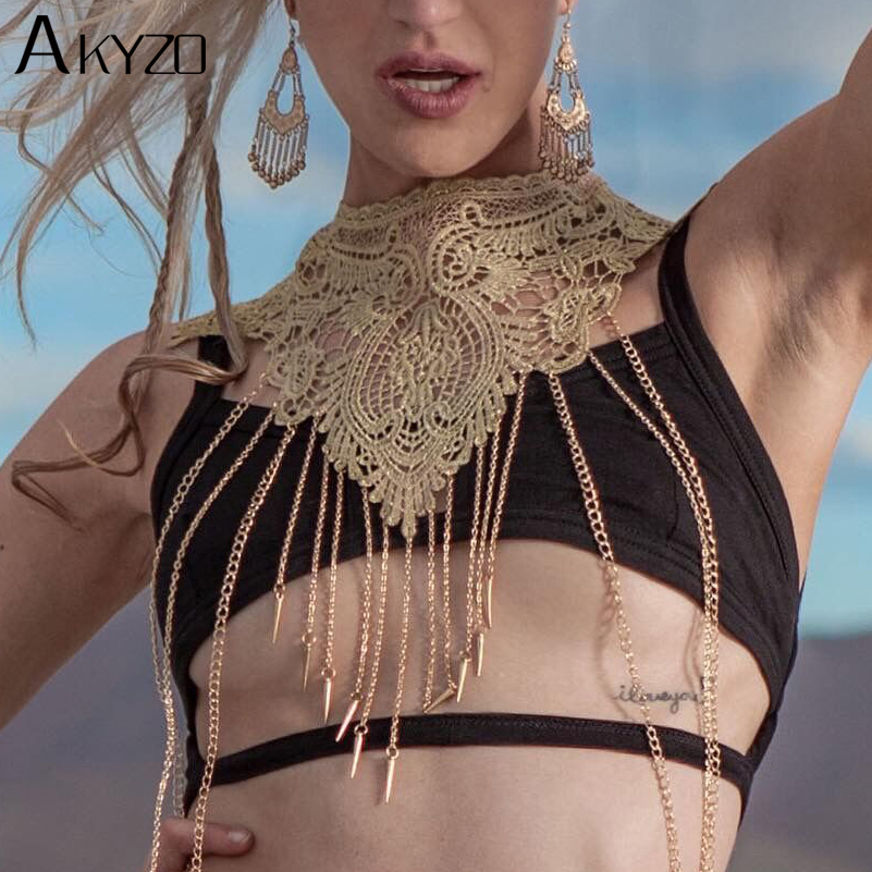 AKYZO 2018 Fashion Festival Wear Lace Tassel Crop Tops Women Hollow Out Metal Chain Nightclub Party Burning Wild Tank Tops