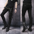 Black New arrival designer  non-mainstream male zipper Rivet casual pants mens skull harem pants skinny pants star style dress
