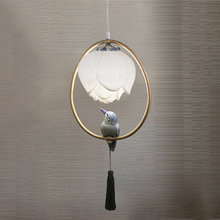 New chinese stype pendant lamp dining room kitchen restaurant hotel bar cafe light resin Lotus bird decorations oval chandelier