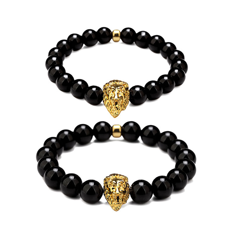 New Golden Lion Head Lion King Chain Rubber Stone Beaded Chain Bracelet Bangles Hip Hop Style Jewelry