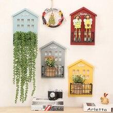 Деревянные стеллажи для хранения Настенный для спальни Декор дерево Винтаж декоративный цветочный горшок коробка для хранения дом полка для хранения
