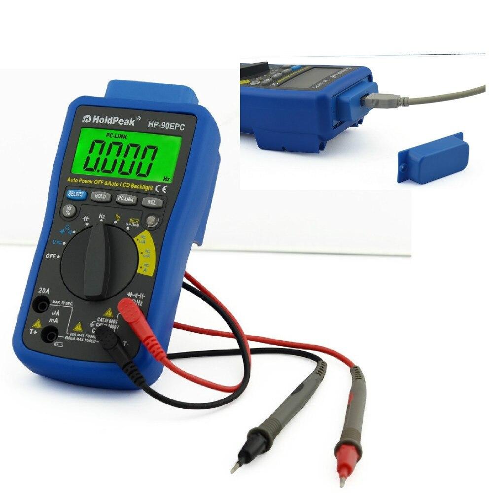 Multimètre multifonctionnel HoldPeak HP-90EPC multimétro numérique USB courant de tension ca/cc C/F testeur de température DMM Support PC
