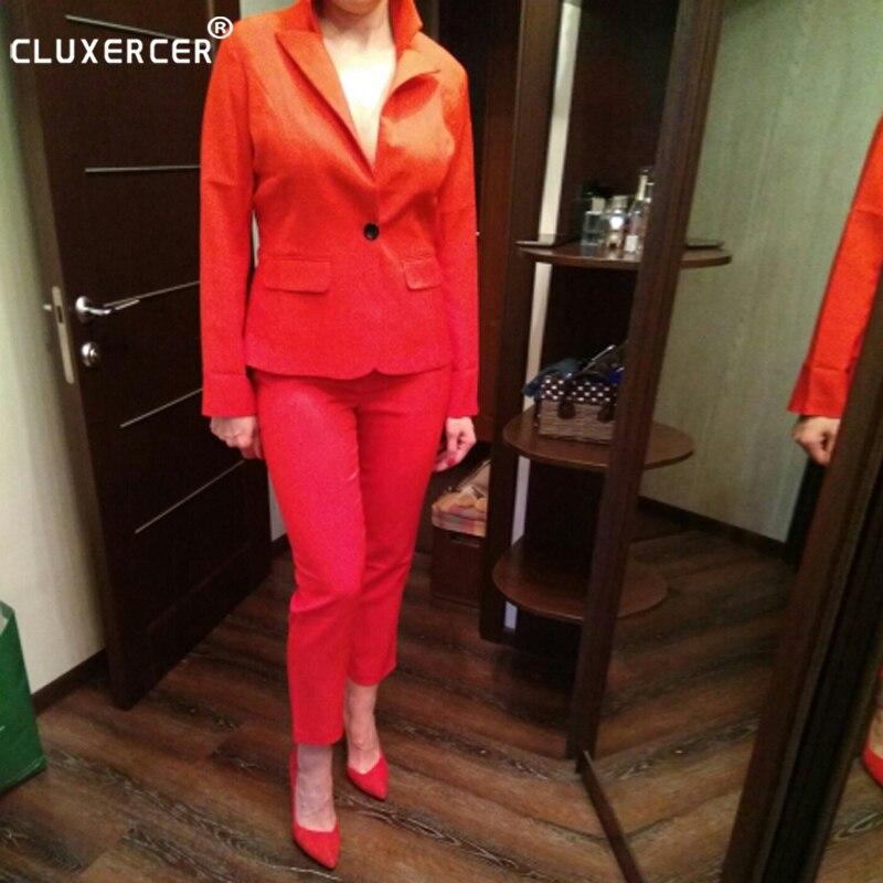 CLUXERCER Brand Women 2 Pieces Sets Womens Business Suits Orange Pants Suit Formal OL Business Suit Long Sleeve trouser suit
