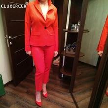 Formal Business Blazer and Crop Pants Suit
