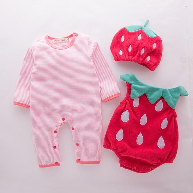 Baby girl outfit strawberry costume full sleeve romper+hat+vest infant halloween festival purim photography clothing