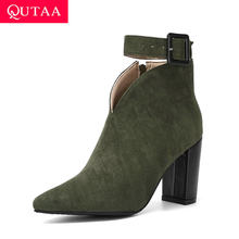 QUTAA 2020 Flock Buckle Zipper Typ-V Herbst Winter Frauen Knöchel Stiefel Fashion Spitz Quadrat High Heel Frauen schuhe Size34-43(China)