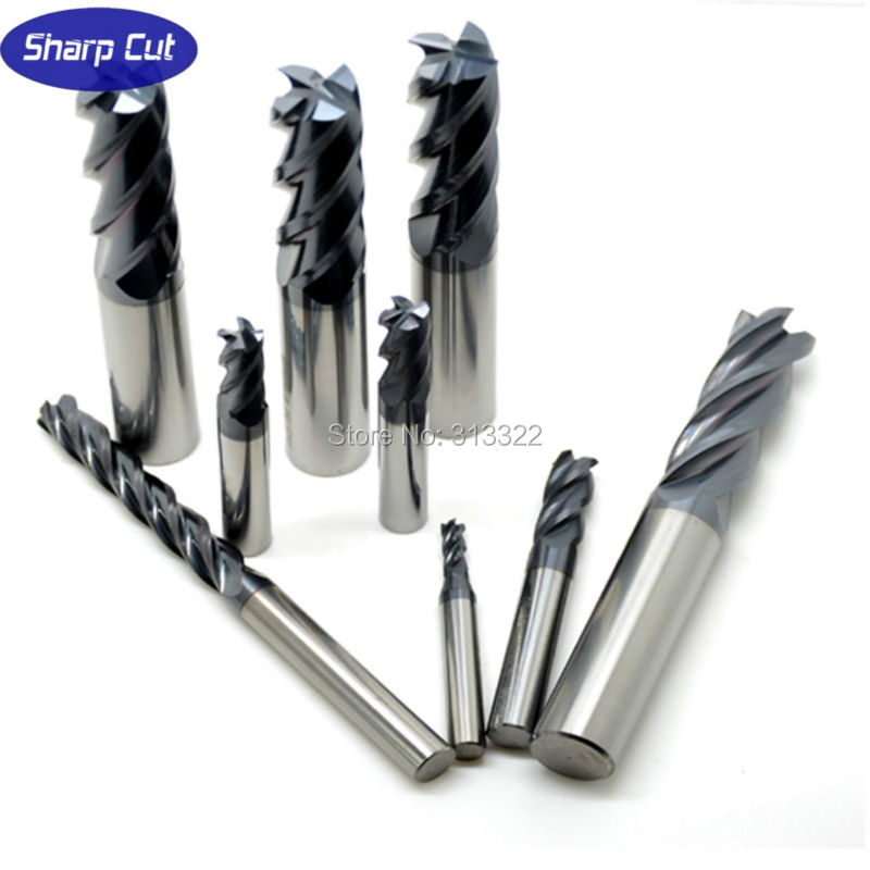 Diameter1-20mm 4F 1Pack Tungsten End Mills, Carbide Micro Grain Solid Flat End Milling Cutter,Core Drill Bit Length 50-150mm 2pcs 4flutes 12mm micro grain solid carbide end mills milling cutter cnc lathe tool router bits hrc45 50