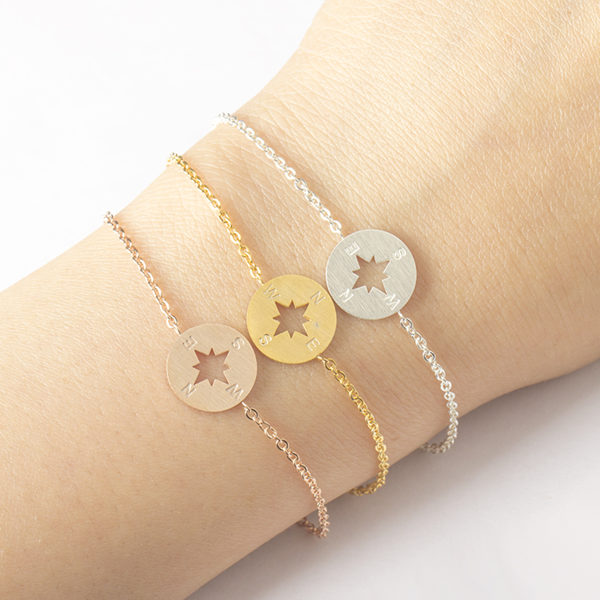 Brújula Charm Bracelet Chain Acero inoxidable para mujer Best Friend Jewelry Bridesmaid Gifts Simple Geometric Round Pulseiras