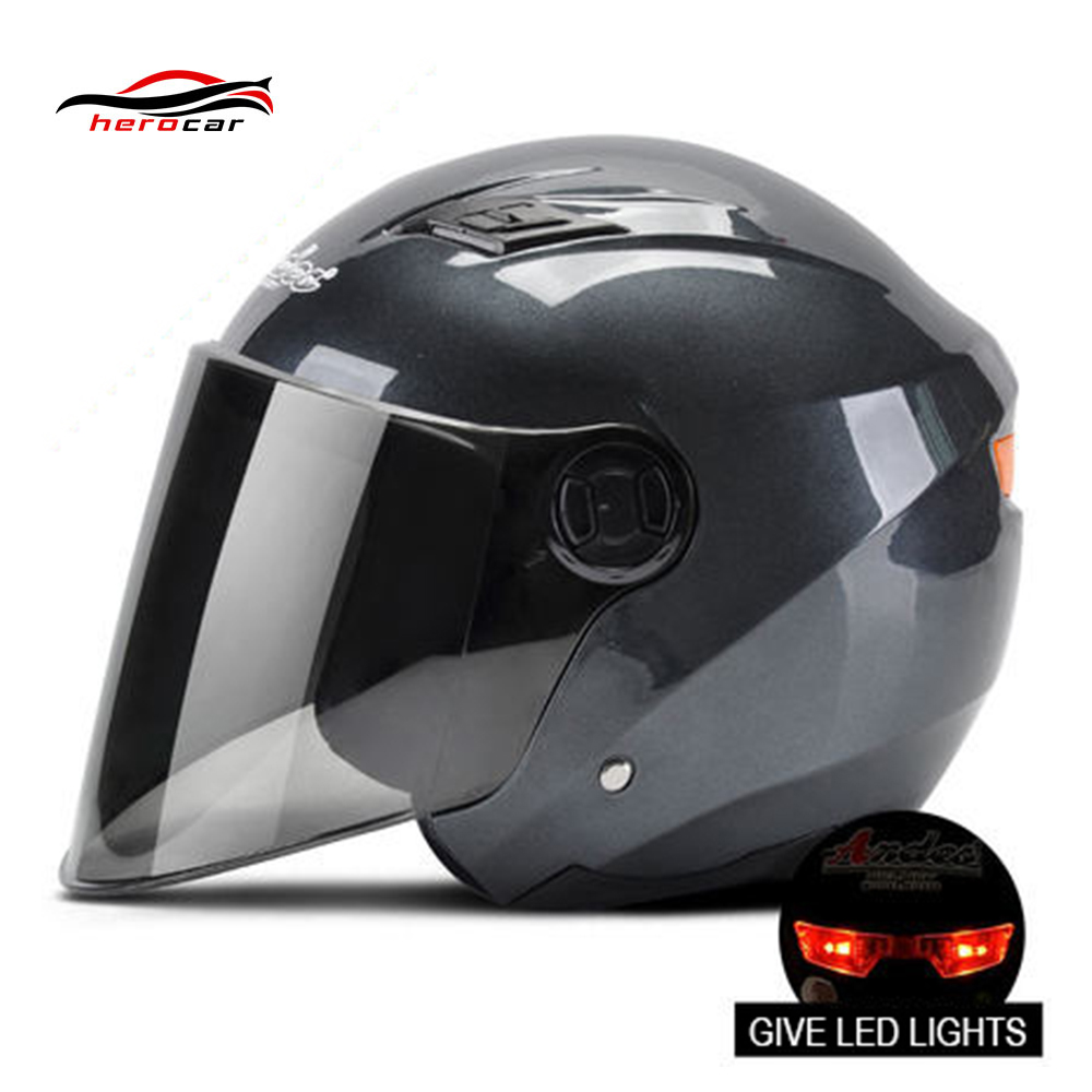 Motorcycle Helmet 3/4 Open Face Helmet Scooter Casco Moto Motorbike Capacete Modular Flip Up Helmet With Lens LED Light Casque ...