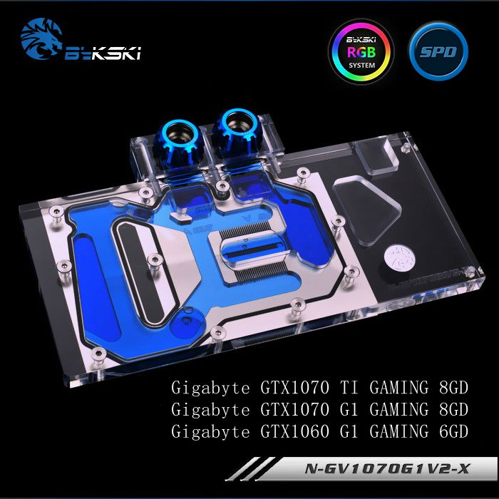 Bykski N-GV1070G1V2-X Full Cover Graphics Card Water Cooling Block for Gigabyte GAMING GTX1070TI 1070 1060 G1 n gv98ti x gtx980ti gv n98tg1 full coverage water cooling head water jacket