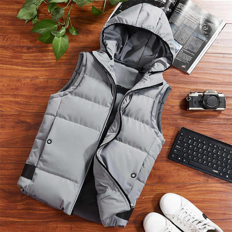 Модная зимняя куртка жилетка без рукавов мужские повседневные однотонные Большие размеры 4XL жилетка с капюшоном утепленная теплая обувь с хлопчатобумажными стельками мужские Куртки