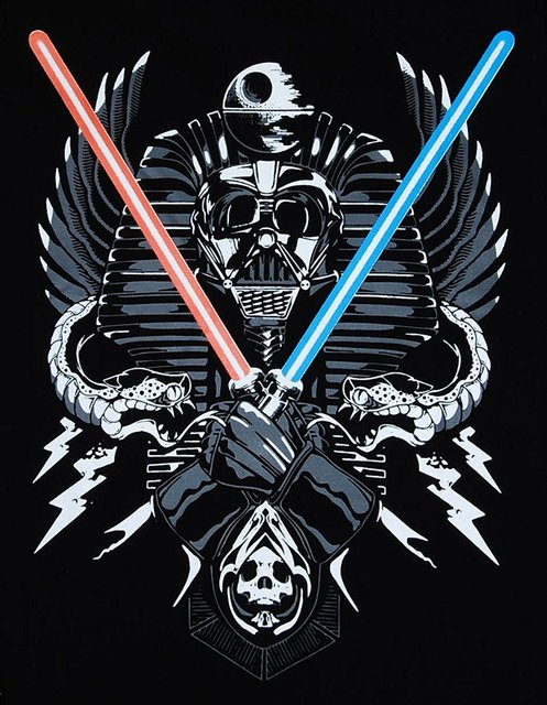 Darth Vader Twin Light Saber Funny Star Wars T-shirt