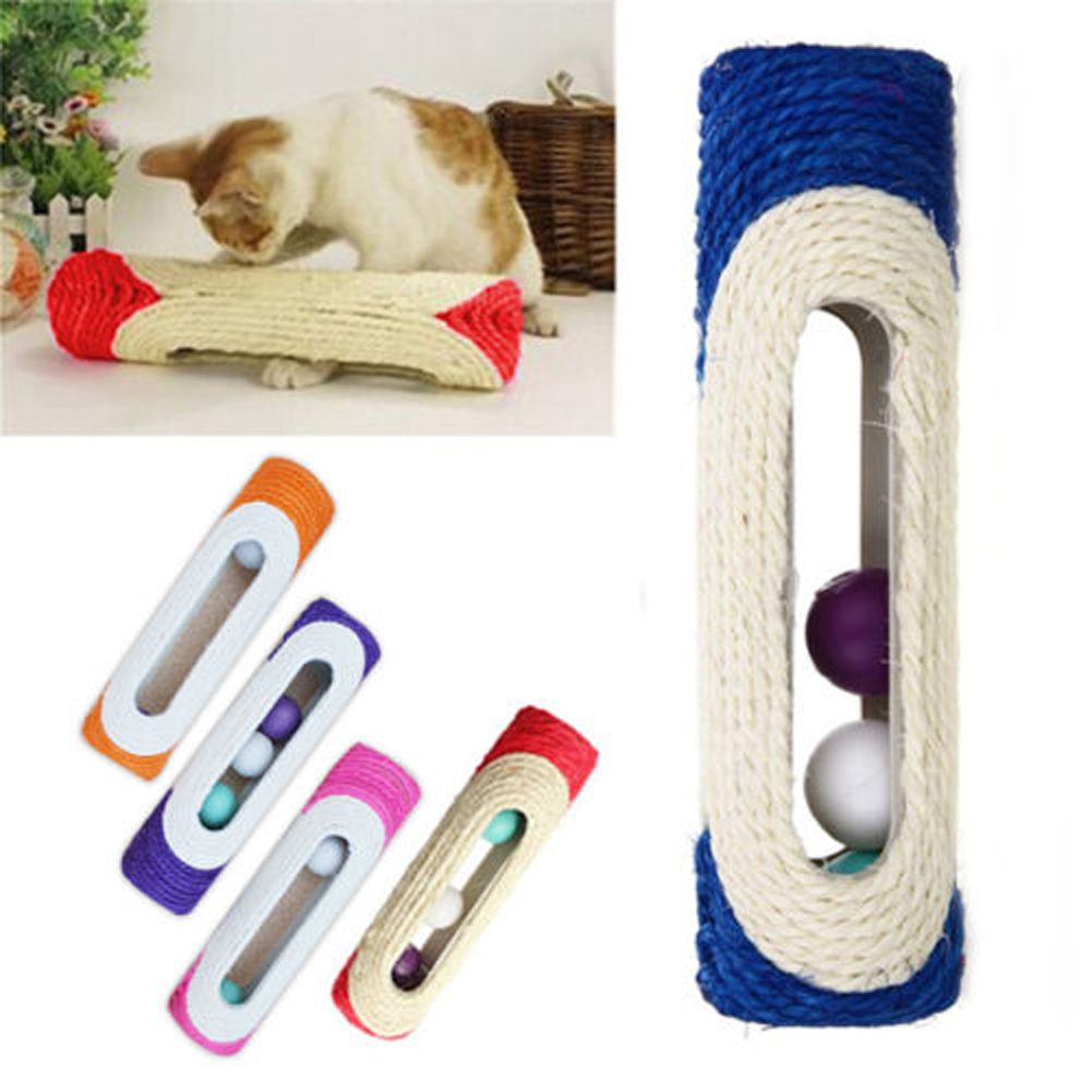 Cat Toy Scratcher Rolling Tunnel Sisal Ball Trapped With 3 Ball Toys For Cat Interactive Training Scratching Toys