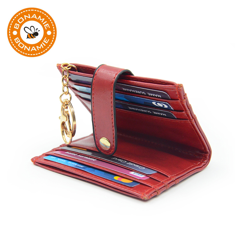 BONAMIE Fold Leather Women Business Credit Card Holder Wallet Keychian RFID Man Bank id Card Holder Case Coin Purse Black Red image