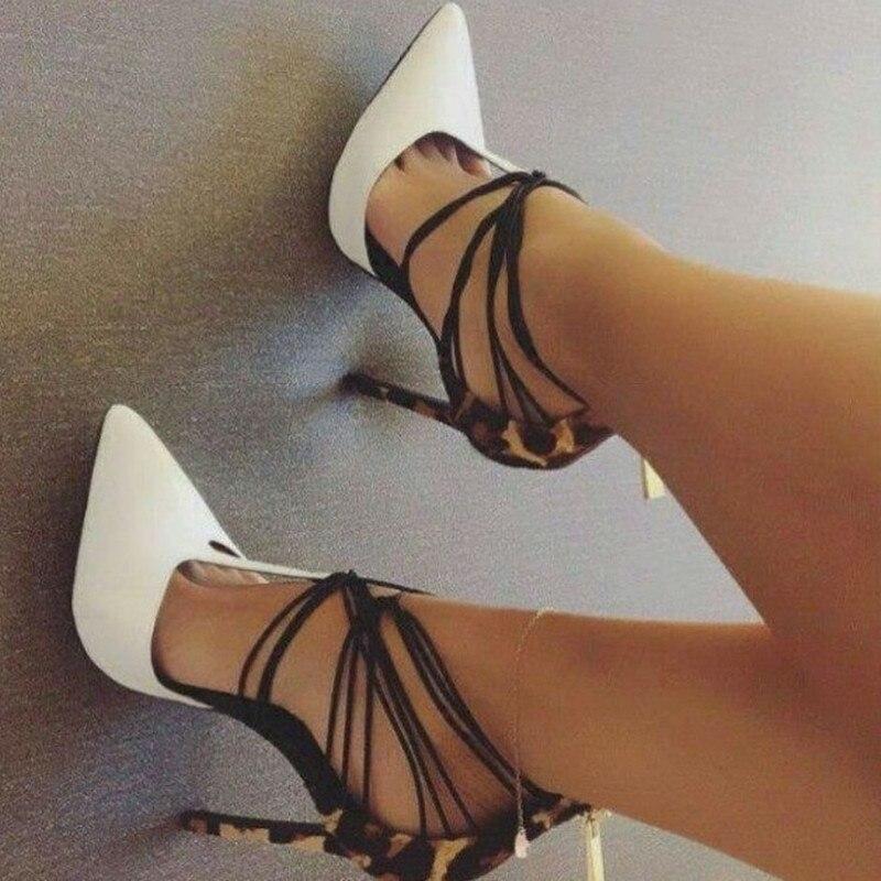 Léopard Chaussures Retour Bande Dames De Pic Femmes Talons Étroite Zipper Et Mariée Déification Pompes Sexy Hauts As Bout Pointu Blanc 7qn6Etg0