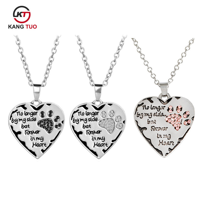 Heart Paws Pendant Necklace Letter No Longer By My Side But Forever In My Heart of Charm Women Men Love Friends Choker Gifts image
