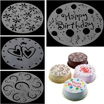 4pc/set Plastic Cake Stencils Flower Spray DIY Decorating Stencil Fondant Mold Pattern Printing Pastry Baking Tool