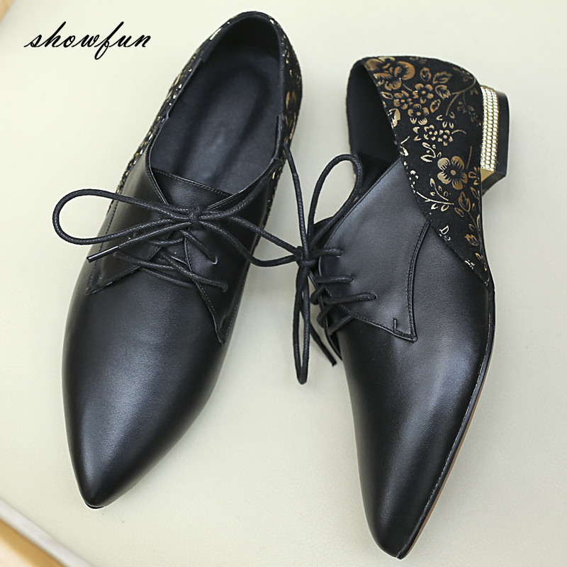 Women's Genuine Leather Print Flower Lace-up Flats Oxfords Brand Designer Pointed Toe Spring Autumn Leisure Espadrilles Shoes pjcmg fashion spring autumn pointed toe black red lace up flats round toe genuine leather oxfords men dress wedding shoes