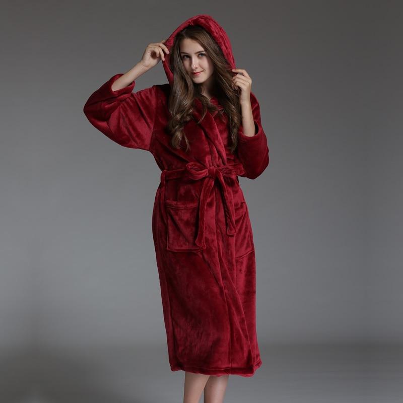 زائد الحجم مقنع حمام الفانيلا الأزواج مثير الحمراء للنساء رشاقته الدفء كيمونو الجلباب النساء بأكمام طويلة مبذل