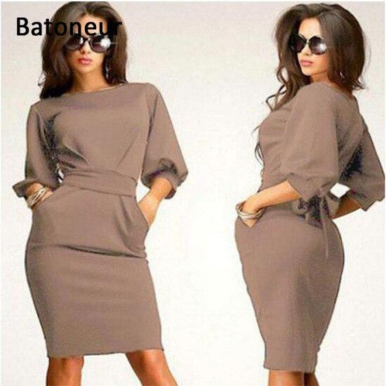 Mode bureau robes pour femmes 2017 femmes travail tenue hanche paquet mince gaine courte dress - Tenue bureau femme ...