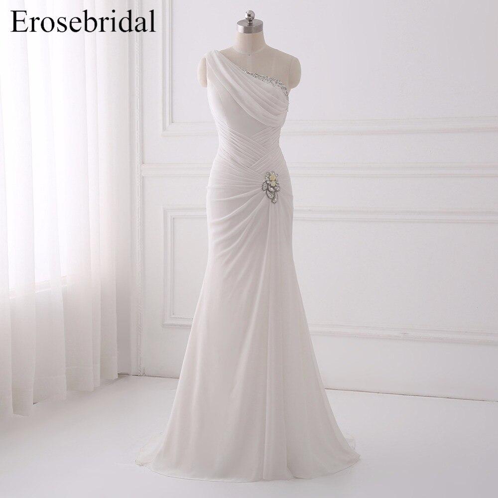2018 Chiffon Mermaid Wedding Dress Erosebridal Bohemian Wedding Dresses Sparkly Crystal Bridal Gown One Shoulder Gowns