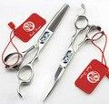 Япония новое 6 дюймов profissional парикмахерские ножницы установить парикмахера ножницами филировочные tijeras высокое качество