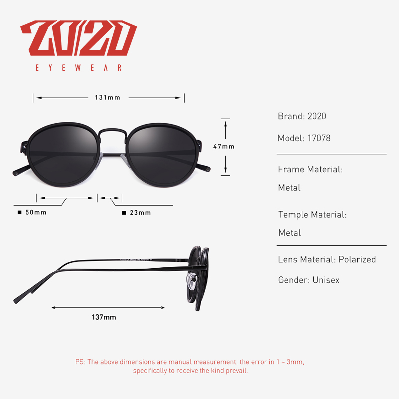 20/20 Brand Unisex Sunglasses Men Polarized Vintage Round Retro Sun Glasses for Women Steel Metal Eyewear Gafas 17078