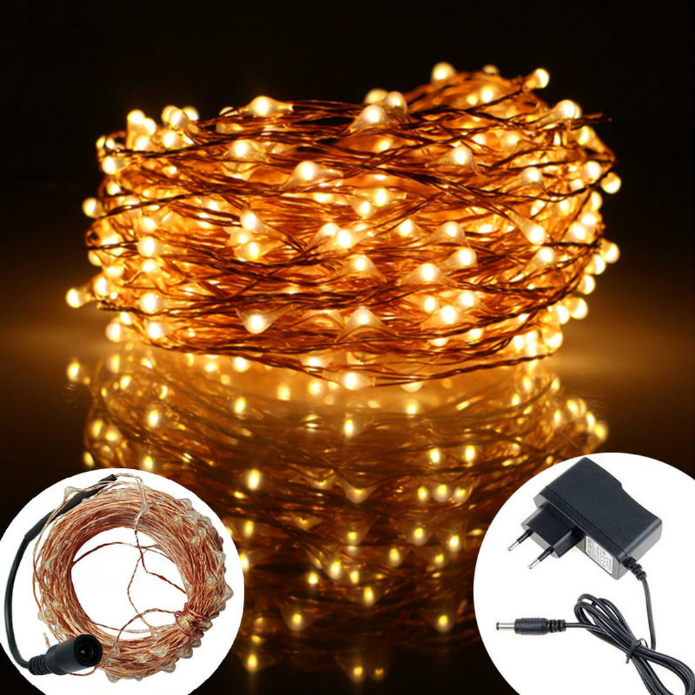 5M 10M 20M Led Outdoor Copper LED Light Chain Fairy Lights with Power Adapter for Christmas Wedding Decoration DC Interface in Lighting Strings from Lights Lighting