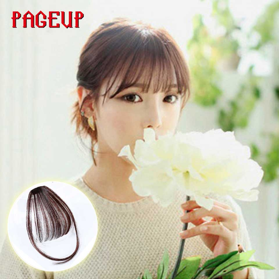 Pageup 6 Colors Synthetic Natural Front Bangs Hair pieces Clip In Fake Bangs For Women Clip In Hair Extensions Short Front Bangs (16)
