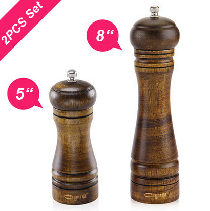 2PCS 5 and 8 Classic Style Wooden Salt and Pepper Mills Grinder Set with Ceramic Core